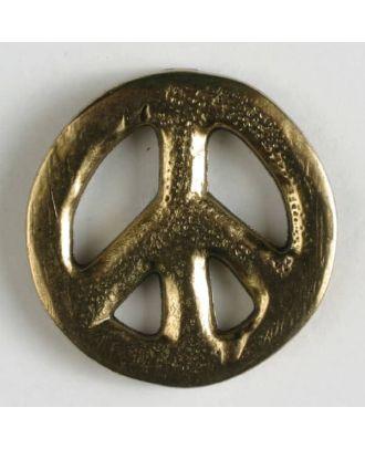 Vollmetallknopf Friedenszeichen mit Öse - Größe: 15mm - Farbe: altgold - Art.Nr. 280950