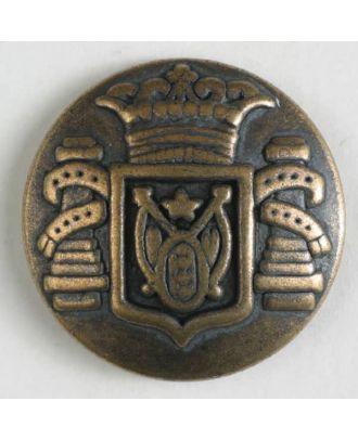 Metallknopf Wappen mit Öse - Größe: 23mm - Farbe: altmessing - Art.Nr. 330804