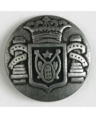 Metallknopf Wappen mit Öse - Größe: 23mm - Farbe: altzinn - Art.Nr. 330805