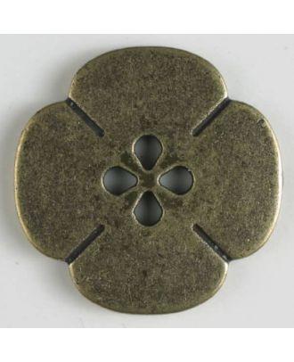 Vollmetallknopf Blume - Größe: 25mm - Farbe: altmessing - Art.Nr. 370548