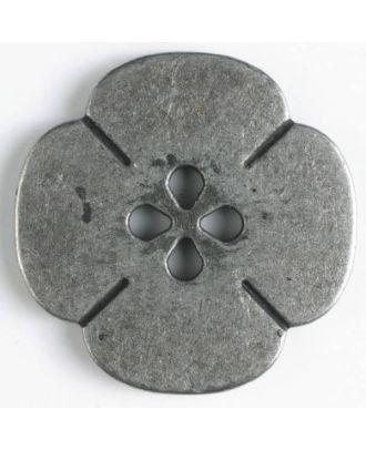 Vollmetallknopf Blume - Größe: 25mm - Farbe: altzinn - Art.Nr. 370549