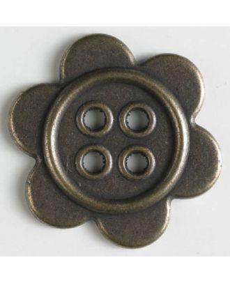 Metallknopf mit Löchern - Größe: 28mm - Farbe: altmessing - Art.Nr. 370640