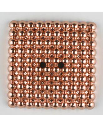 """Vollmetallknopf, mit noblen """"Perlen"""" bestückt, quadratisch, 2 loch - Größe: 48mm - Farbe: hellkupfer - Art.Nr. 450185"""