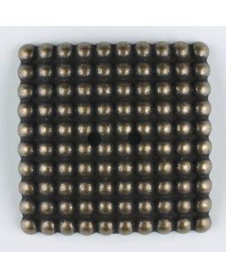 """Vollmetallknopf, mit noblen """"Perlen"""" bestückt, quadratisch, 2 loch - Größe: 48mm - Farbe: altmessing - Art.Nr. 450184"""