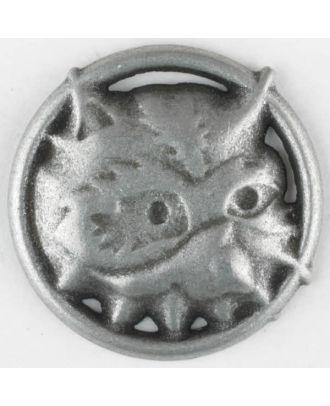 Vollmetallknopf, Nicky Epstein - Waschbär, Öse - Größe: 25mm - Farbe: altzinn - Art.Nr. 390299