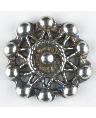 sternförmiger Vollmetallknopf mit Perlenbesatz, rund, Öse - Größe: 15mm - Farbe: altsilber - Art.Nr. 241208