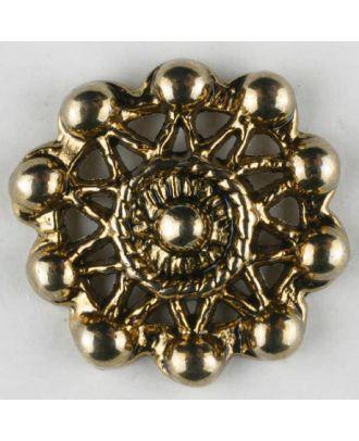 sternförmiger Vollmetallknopf mit Perlenbesatz, rund, Öse - Größe: 15mm - Farbe: altgold - Art.Nr. 261251
