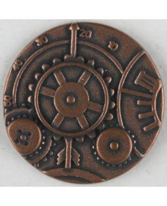 Steampunk Knopf Uhrwerk mit Öse - Größe: 30mm - Farbe: kupfer - Art.Nr. 370771