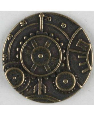 Steampunk Knopf Uhrwerk mit Öse - Größe: 23mm - Farbe: altmessing - Art.Nr. 331075