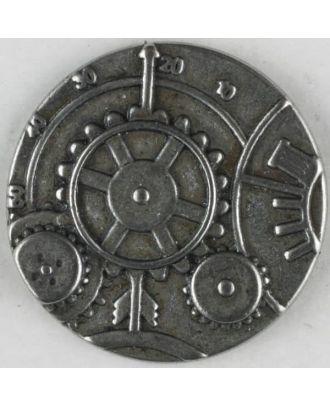 Steampunk Knopf Uhrwerk mit Öse - Größe: 30mm - Farbe: mattsilber - Art.Nr. 370769