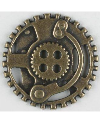 Steampunk Knopf Zahnrad mit 4 Löchern - Größe: 30mm - Farbe: altmessing - Art.Nr. 370773