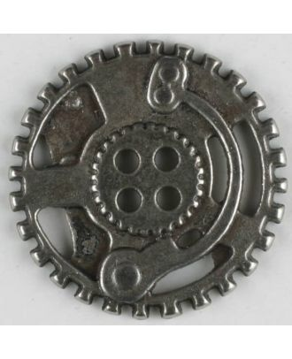 Steampunk Knopf Zahnrad mit 4 Löchern - Größe: 30mm - Farbe: mattsilber - Art.Nr. 370772