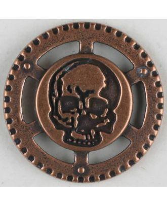 Steampunk Knopf Totenkopf mit Öse - Größe: 23mm - Farbe: kupfer - Art.Nr. 331082