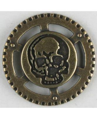 Steampunk Knopf Totenkopf mit Öse - Größe: 23mm - Farbe: altmessing - Art.Nr. 331081