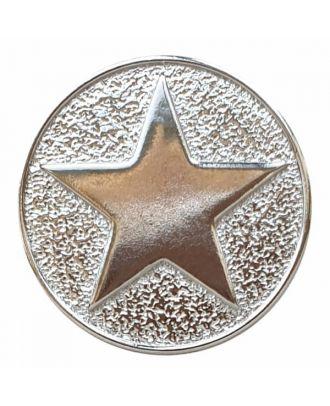 Sternenknopf Vollmetall mit Öse - Größe: 25mm - Farbe: silber - Art.Nr. 370881