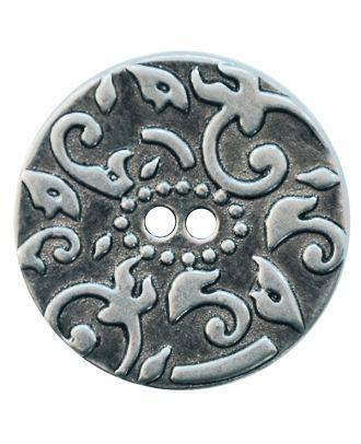 Vollmetallknopf mit Muster und 2 Löchern - Größe:  20mm - Farbe: altsilber - ArtNr.: 311109