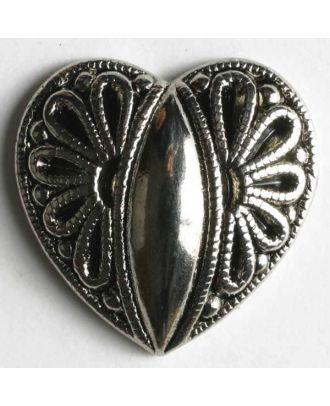 Herzknopf, vollmetall mit Blumenmuster - Größe: 15mm - Farbe: altsilber - Art.Nr. 240721