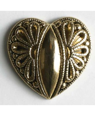 Herzknopf, vollmetall mit Blumenmuster - Größe: 15mm - Farbe: altgolder  - Art.Nr. 260628