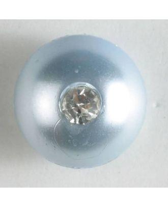 kugelförmiger Knopf mit kleinem Strassstein - Größe: 10mm - Farbe: blau - Art.Nr. 300196