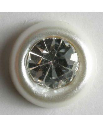 Strassknopf mit breitem Rand - Größe: 9mm - Farbe: weiß - Art.Nr. 310524