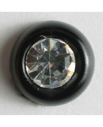 Strassknopf mit breitem Rand - Größe: 9mm - Farbe: schwarz - Art.Nr. 310525