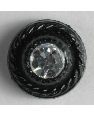Kunststoffknopf mit Strass - Größe: 9mm - Farbe: schwarz - Art.-Nr.: 310530