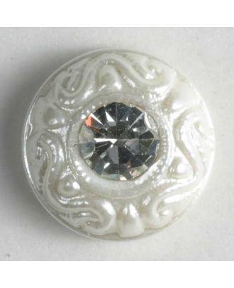 Kunststoffknopf mit Strass - Größe: 9mm - Farbe: weiss - Art.-Nr.: 310532