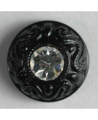 Kunststoffknopf mit Strass - Größe: 9mm - Farbe: schwarz - Art.-Nr.: 310533