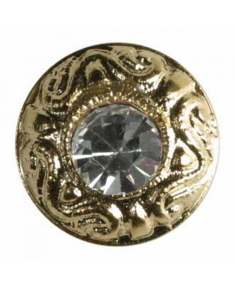 Knopf mit Straßstein in schöner Einfassung -Größe: 9mm - Farbe: gold - Art.Nr. 330593