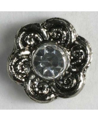 Strassknopf in Blütenform - Größe: 11mm - Farbe: altsilber - Art.Nr. 330598