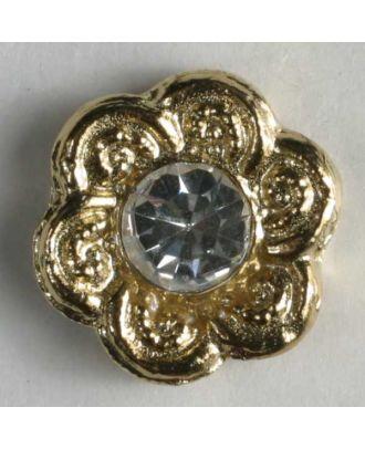 Strassknopf in Blütenform - Größe: 11mm - Farbe: gold - Art.Nr. 340727
