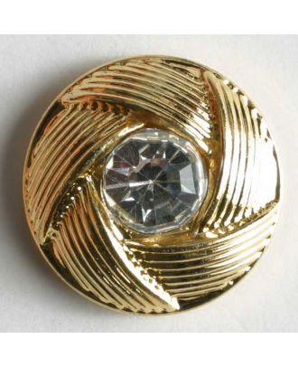 Knopf mit Straßstein umhüllt von geflochtenem Rand - Größe: 10mm - Farbe: gold - Art.Nr. 330603