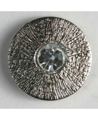 Kunststoffknopf mit Strass - Größe: 14mm - Farbe: altsilber - Art.-Nr.: 340734