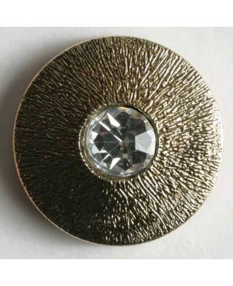 Knopf mit gehämmerter Oberfläche und kleinem Straßstein - Größe: 18mm - Farbe: altgold - Art.Nr. 380121