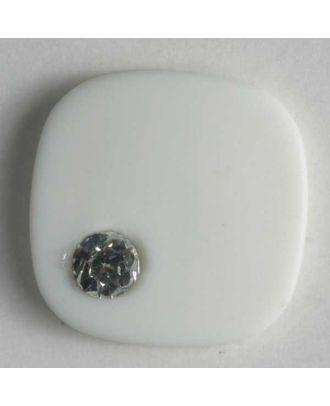 Kunststoffknopf mit Strass - Größe: 18mm - Farbe: weiss - Art.-Nr.: 370280