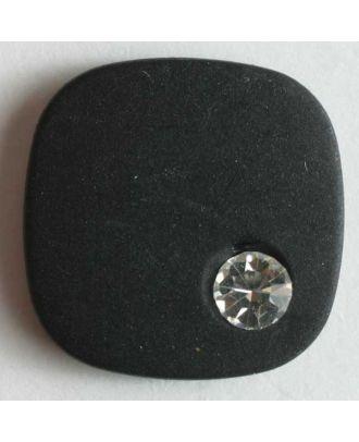 Knopf mit gehämmerter Oberfläche und kleinem Straßstein - Größe: 18mm - Farbe: schwarz - Art.Nr. 370281