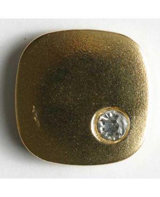 Knopf mit gehämmerter Oberfläche und kleinem Straßstein - Größe: 18mm - Farbe: gold - Art.Nr. 380122