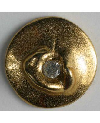 Kunststoffknopf mit Strass - Größe: 25mm - Farbe: altgold - Art.-Nr.: 430028