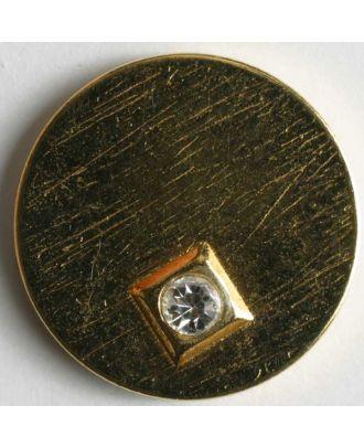 Knopf mit kleinem Strassstein eingearbeitet in quadratischem goldenen Rand - Größe: 23mm - Farbe: gold - Art.Nr. 420030