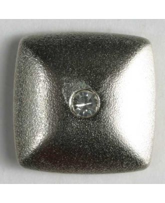 Kunststoffknopf mit Strass - Größe: 23mm - Farbe: silber - Art.-Nr.: 400047