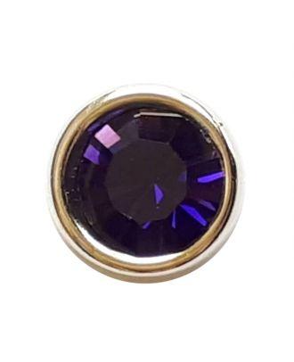 Straßknopf mit silbernem Rand mit Öse - Größe: 8mm - Farbe: lila - Art.Nr. 341278