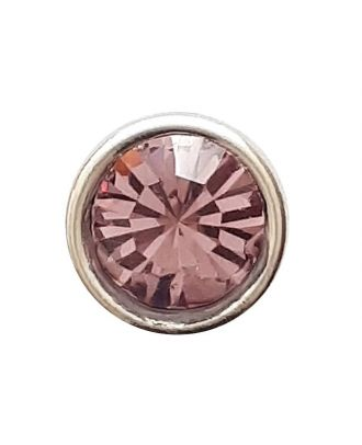 Straßknopf mit silbernem Rand mit Öse - Größe: 8mm - Farbe: rosa/pink - Art.Nr. 341279