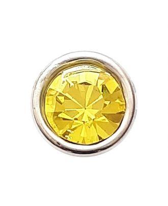 Straßknopf mit silbernem Rand mit Öse - Größe: 8mm - Farbe: gelb - Art.Nr. 341281