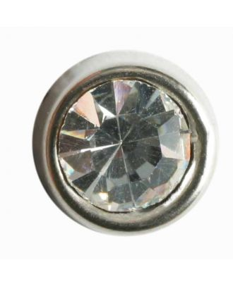 schön geschliffener runder Strassknopf - Größe: 10mm - Farbe: silber - Art.Nr. 330608