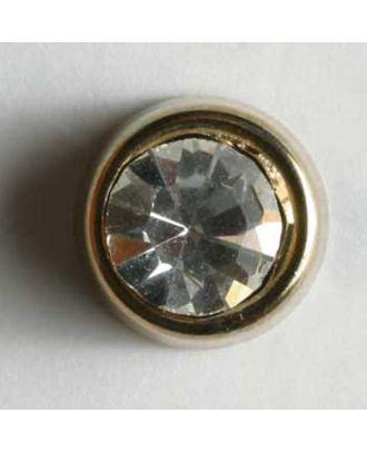 schön geschliffener runder Strassknopf - Größe: 8mm - Farbe: gold - Art.Nr. 330607