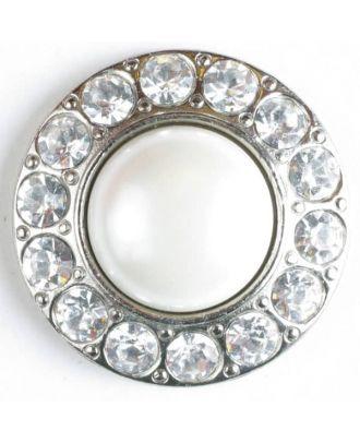 wunderschöner Strassknopf mit großer Perle in der Mitte  - Größe: 25mm - Farbe: silber - Art.Nr. 510016