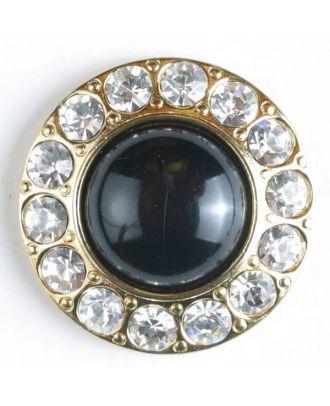 wunderschöner Strassknopf mit großer Perle in der Mitte  - Größe: 25mm - Farbe: vergoldet - Art.Nr. 510019