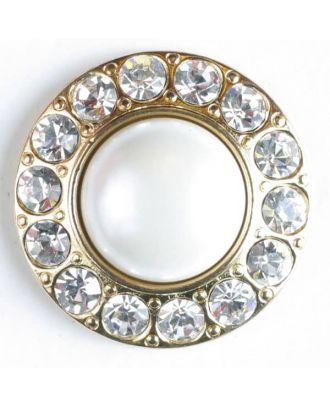 wunderschöner Strassknopf mit großer Perle in der Mitte  -  Größe: 25mm - Farbe: vergoldet - Art.Nr. 510017