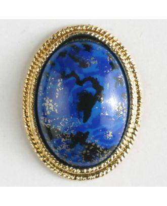 Zweiteiliger Knopf mit extravagantem Muster und aufwändigem Goldrand mit Öse - Größe: 18mm - Farbe: blau - Art.Nr. 310387