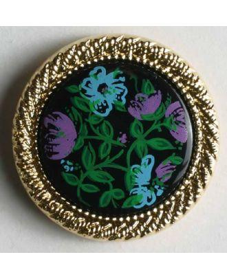 Kunststoffknopf mit Blütendekor und auffallendem Goldrand - Größe: 17mm - Farbe: gold - Art.Nr. 280626